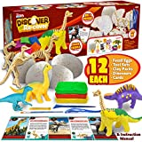 JOYIN Klever Kits 12 Dino Oeufs fossiles et Argile Kit Découvrir et Récupérer avec 12 Squelettes de dinosaure et Argile à modeler Kit d'apprentissage Archéologie STEM
