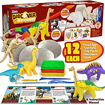 Dino Egg Dig and Clay Kit with 12 Dinosaur Fossil Eggs Dig Kits,12 Clay Kits,12 Dinosaur Mini Figures Collective Cards and Tools Easter Eggs Kids Science Craft Kits Archaeology STEM Learning