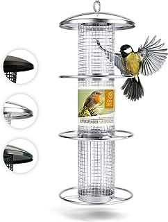 Mangeoire Oiseaux Exterieur 35cm - Distributeur Cacahuètes Oiseaux, Mangeoire à Oiseaux Distributeur Suspendu Imperméable ...