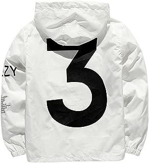 Cimno Men's Windbreaker Jacket Hooded Letters Printed Elastic Bottom Long Sleeve Zip Up Jackets