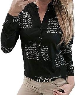 BaZhaHei Donna Camicia,Camicetta Donna Elegante Manica Lunga A Quadri Collo Alto Moda Casual Maglietta Primavera Estate To...