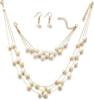 Silver Gold Faux PearlsNecklace Earrings Ring Bracelet Jewelry Set Costume Wedding Jewelry Sets