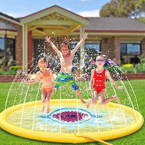 Lzcaure Alfombrilla de aspersor para niños, diseño de tiburón, color amarillo, para actividades al aire libre, para niños jugando con aspersores (color: C1, tamaño: 170 x 170 cm)