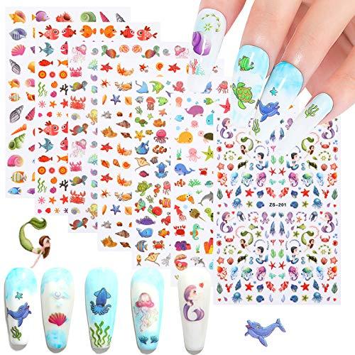 Kids Sea Animals Nail Art Stickers 7 Sheets 3D Beach Nail Art Accessories Decals Self-adhesive Mermaids Shark Dolphin Shell Starfish Sticker Design for Women Girls Nail Arts DIY Nail Decorations