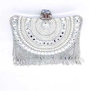 Fine Bag/Women's Clutches Crystal Tassel Evening Bag Clutch Purse Bags Special Occasion Evening Handbags Banquet Bag (Color : Silver, Size : One Size)