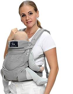 CUBY 抱っこひも ベビーキャリー ベビースリング おんぶ紐 通気性抜群 軽量 前抱きタイプ 後抱きタイプ 多機能(3ヶ月から3歳まで) (グレー)