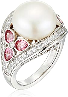 Platinum-Plated Sterling Pearl Cocktail Ring set with Swarovski Zirconia