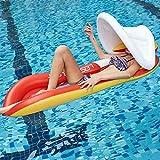 DJYD Adulto Agua Inflable Tumbona Sofá-Flotante Fila con extraíble Parasol-Natación Anillo-Piscina al Aire la Cama Flotante Flotante-Mat reclinable-Natación Colchón Inflable, Azul Rojo, Azul FDWFN