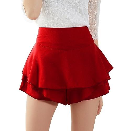 8a05f926fb18a ISASSY Womens Skirts Skorts Celebrity Layered Ruffled Frill Skorts High  Waisted Mini Skirt