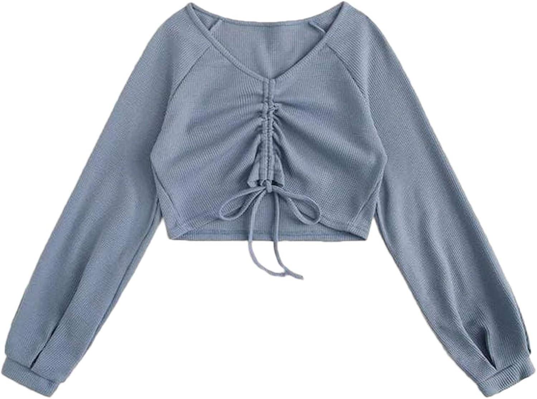 Floerns Women's Plus Size Long Sleeve V Neck Drawstring Crop Top T Shirts