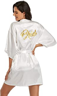 Bride Robe Satin Kimono Wedding Party Getting Ready Robe Gold Glitter Engagement Party Bride to be Party (Pearl White, S)