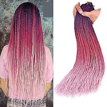 24 Inch Ombre Color Crochet Hair Senegalese Crochet Hair Braids Yolana Small Havana Twist Crochet Micro Long Senegalese Braids Hairstyles Twist Crochet Hair for Black Women  6 Packs/Lot,Purple/Rose Red/Pink