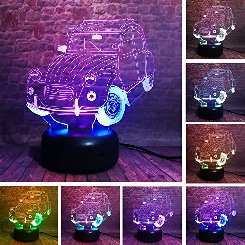 Kreative Doppel-SUVs Auto Gradient Vision Weihnachten 3D LED Nachtlicht USB Tischlampe Kinder Geburtstag Geschenk Nachtdekoration am Bett