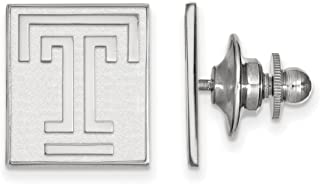 Solid 925 Sterling Silver Temple University Lapel Pin (15mm x 15mm)