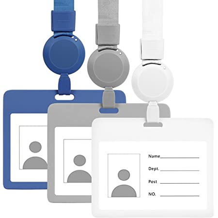 Toplive Porte-badge d'identification [Rétractable] Protection de carte d'identification horizontale avec cordon détachable pour femme/homme/infirmière/police et étudiant