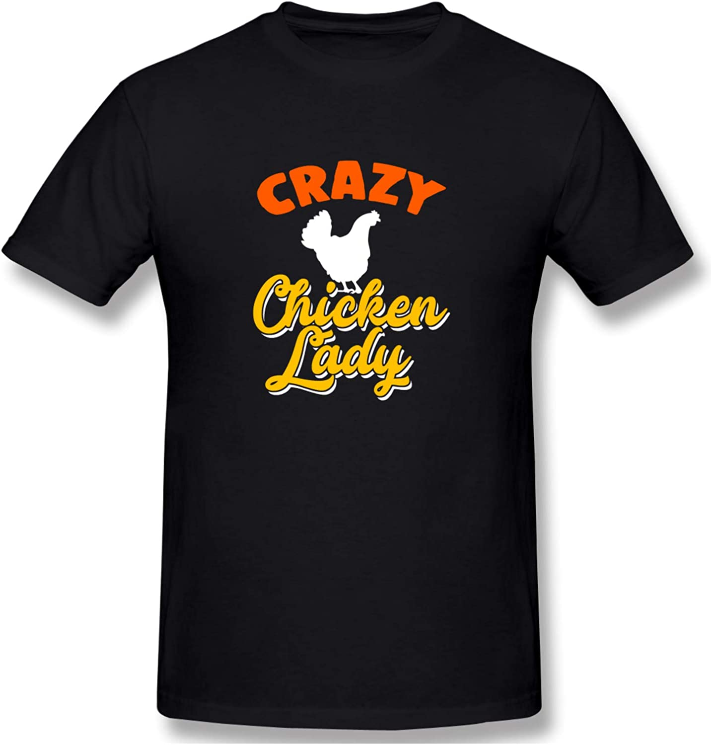 Crazy Chicken Lady Men's T-Shirts Short-Sleeve Crew Neck T Classic Tops Casual Shirt