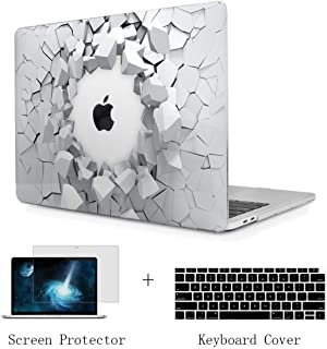 TwoL Print Hard Shell Case and Keyboard Skin Screen Protector for New MacBook Air 13 inch 2018 Release Model:A1932 with Retina Display Creative Explosion
