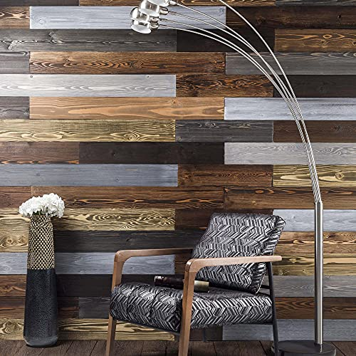 BoscoMondo Barnwood Wall Planks, Rustic Solid Wood Panels, Accent Wall Decor, 14 Square feet