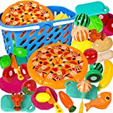 Attmu 35 Pcs Pretend Play Food Set for Kids Play Kitchen Cutting Toys Fake Food Play Kitchen Accessories with Realistic Storage Basket Early Educational Food Boys and Girls Birthday Gifts