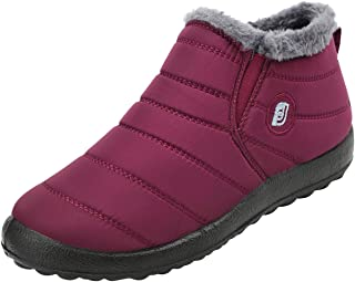 Womens and Men Snow Boots Waterproof Ankle Anti-Skid Winter Fur Booties for Couple