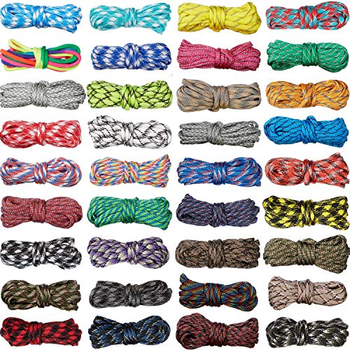 36 Cable Paracord 550 Cuerda de Paracord Colores de 10 Pies Paracord Multifuncional Cuerda Artesanal...