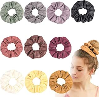 Artificial Leather Scrunchies Solid Color Elastic Hair Ties, Colorful Large Hair Ties, Strong Elastic Hair Bobbles for Ponytail Holder, Hair Accessories Ropes Scrunchie for Women (10 pcs solidcolor B)