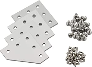 PZRT 2020 Series L Shape Joint Plate Bracket Kit,4pcs Joint Plate,20pcs M5 T-slot Nuts, 20pcs M5x8mm Hex Socket Cap Screw,for Standard 6mm Slot Aluminum Profile