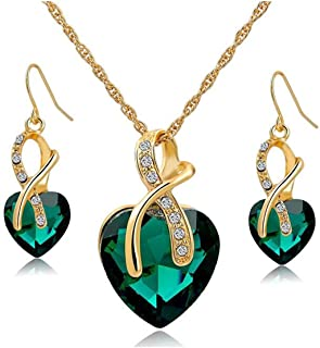 Gift! Gold Plated Jewelry Sets For Women Crystal Heart...