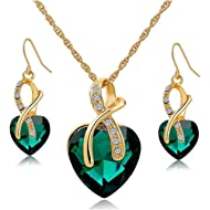 Gift! Gold Plated Jewelry Sets For Women Crystal Heart Necklace Earrings Jewellery Set Bridal...