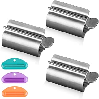 Creams /& More for Bathroom WXJ13 3 Pack Rolling Tube Toothpaste Squeezer Seat Holder Stand with 3 Pack Simple Tube Toothpaste Squeezer Rotate Plastic Toothpaste Dispenser Saves Toothpaste