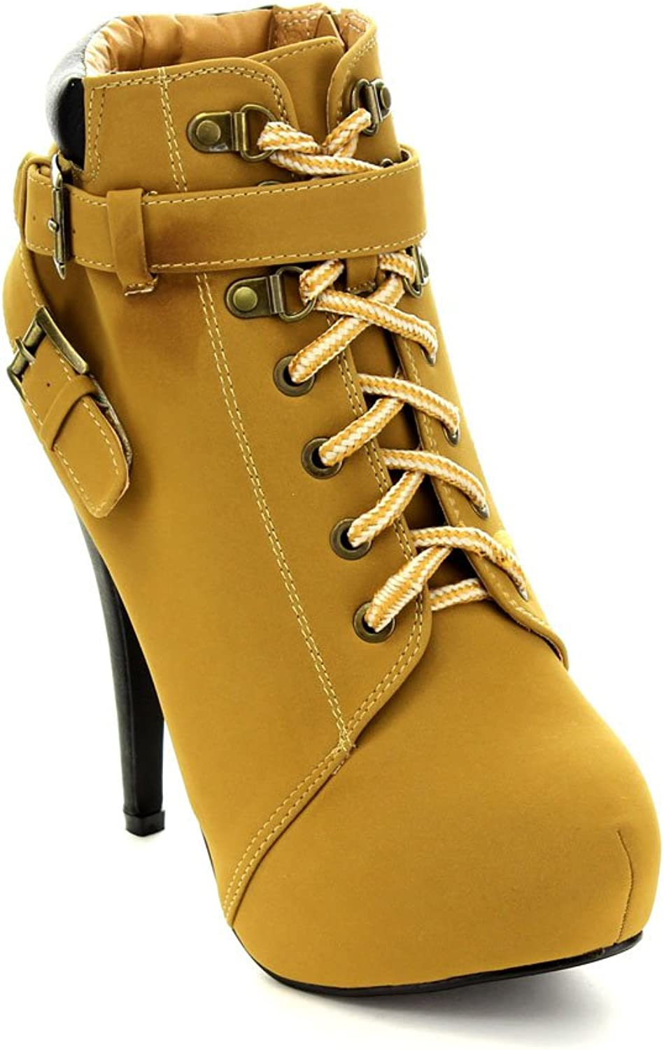Forever Compose-08 Women's Fashion Stiletto Heel Lace Up Ankle Booties