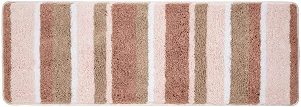 mDesign Striped Microfiber Polyester Rug, Non-Slip Spa Mat/Runner, Polyester, Light Pink, Pack of 1