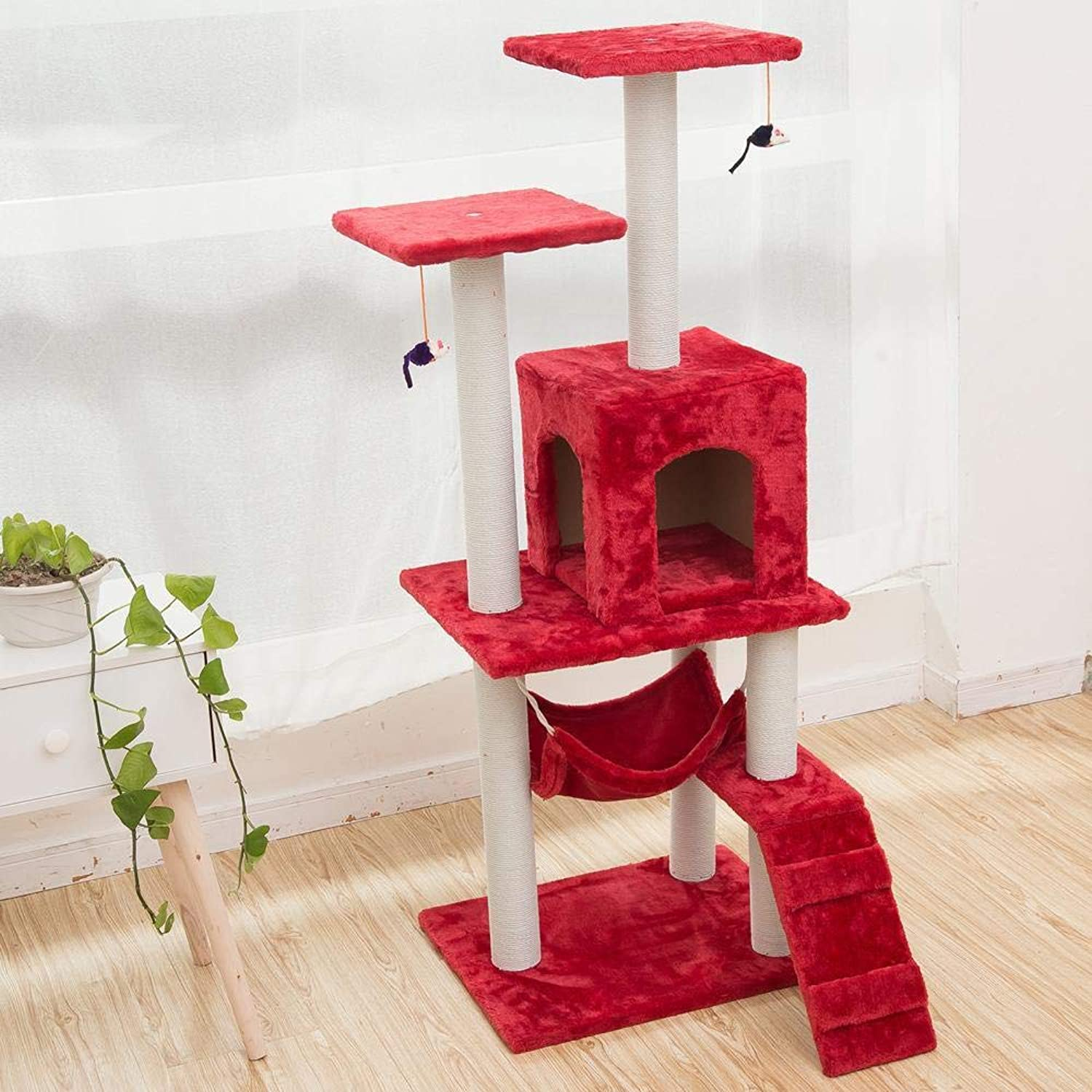 Axiba Play Towers Trees for Cats Cat trees practical sisal cat Tree furniture Wooden large cat tree shelf pet three layer cat frame cat Tree 40cm 50cm  125cm