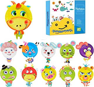 Here Fashion Pack of 12 Sticker Paper Plate Art Kit for Kids Toddler Crafts Art Toys - Transform Simple Paper Plates into Friendly Animals, Perfect for Craft Parties, Groups and The Classroom