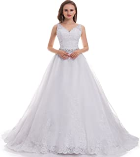 OWMAN Women's Double V-Neck Lace Applique Empire Chapel Train Wedding Dress Ivory 2