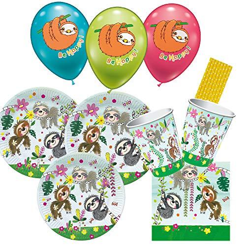 Rachel Ellen/Hobbyfun 50-teiliges Party-Set Faultier - Teller Becher Servietten Trinkhalme Luftballons für 8 Kinder