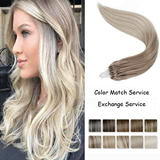 LaaVoo 18inch 50g/50s Micro Link Loops Rings Real Human Hair Extensions Balayage Ombre Color Ash Blonde to Platinum Blonde Silky Straight Long Hair Extensions