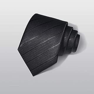 Elegant Men's Casual Fashion Tie Tie for Work, Dating, Wedding, 145 × 8cm Black CQQO (Color : E)