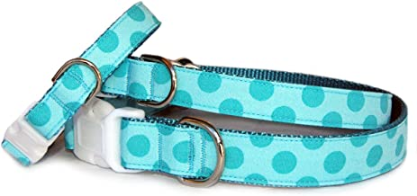 Polka dots dog collar : Turquoise blue polka dot cotton fabric on nylon backing pet collar for puppy, small dog to large dog. 5/8 inch, 3/4 inch or 1 inch wide. Handcrafted and made in the U.S.A.