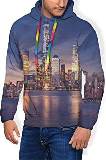 Men's Hoodie Plus Velvet Sweatshirt,New York City Manhattan After Sunset View Picture with Skyline Reflection River L