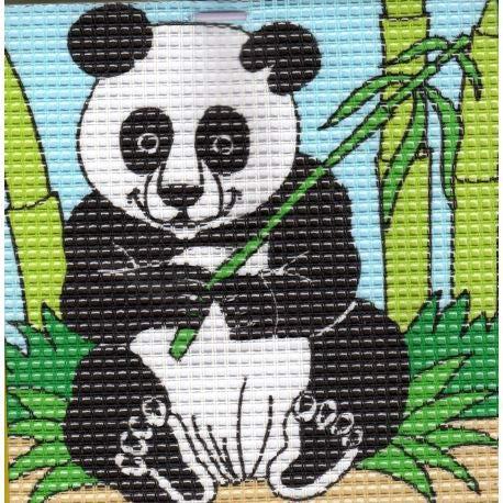 FILOUFACE Kit Canevas Complet Le Panda 16 x 16 Enfant Gros Trous