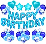 Skevic Decoración Fiesta de Cumpleaños Azul, Pancarta Feliz Cumpleaños Guirnalda Banner con Globos, Confeti, Corazón y Estrella para Mujer Niña Bebe Aniversario Bautizo Comunión Boda