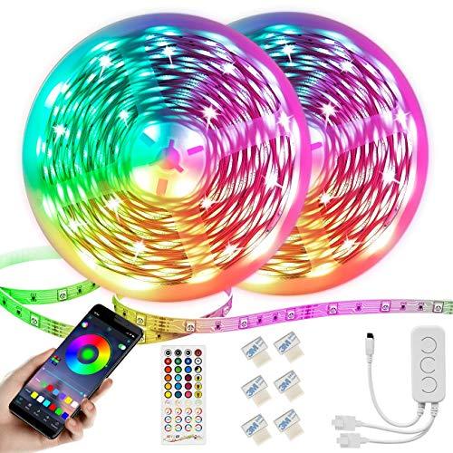 Kintty 20M LED Tiras de luces,Kits de tiras de LED musicales Bluetooth 5050 SMD 600 LEDs Luces RGB, control de aplicaciones y control remoto 40 teclas, 6 millones de colores, modo de programación