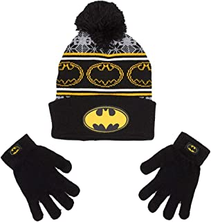 Boys Batman Stocking Cap Beanie Winter Hat & Gloves Set