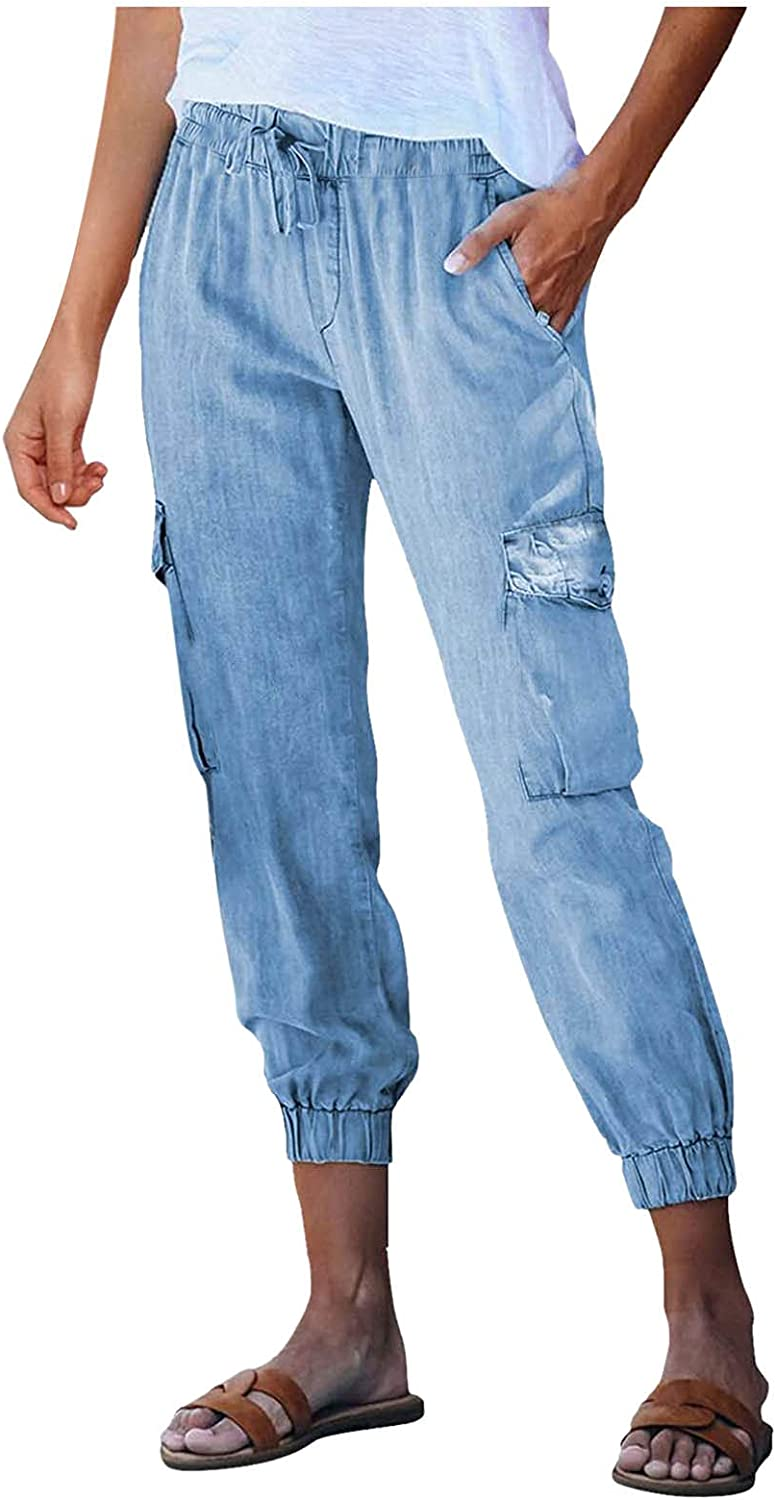 Misaky Women's Solid Casual Jeans Skinny Denim trend rank safety Waist High Loose