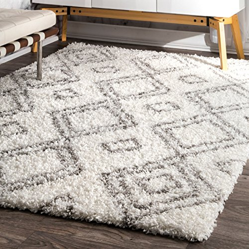 nuLOOM 8' x 10'Cozy Soft and Plush Moroccan Trellis Iola Easy Shag Indoor Area Rug, White
