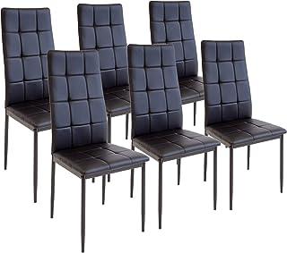 Albatros Silla Rimini Set de 6 sillas Negro certificada por la SGS Silla de Comedor