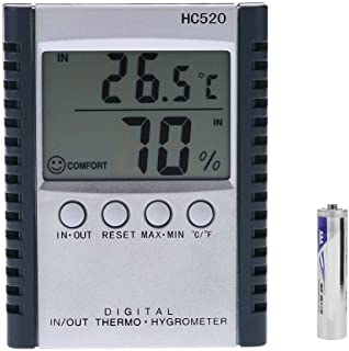 XCSSKG Embedded Electric Thermo Hygrometer Digital Thermometer with Probe//Wire Black