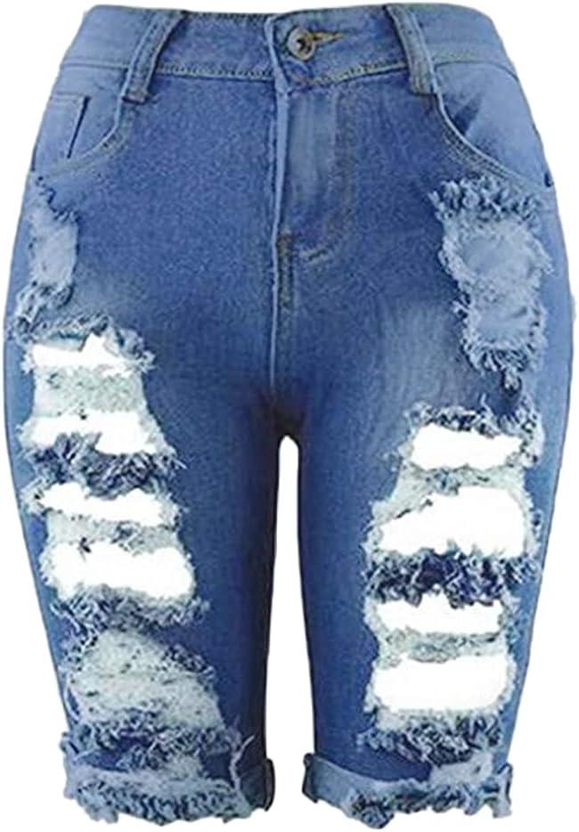 Women's Fashion Ripped Hole Denim Shorts Stretchy Slim Fit Washed Short Jeans High Waisted Frayed Raw Hem Short-pant (Blue,3X-Large)