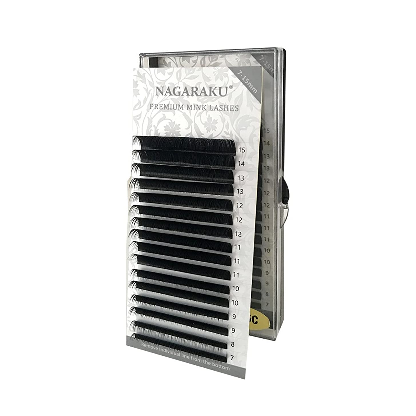 袋型ブートNAGARAKU 太さ0.12mm J カール 7~15mmミックス まつ毛エクステンション